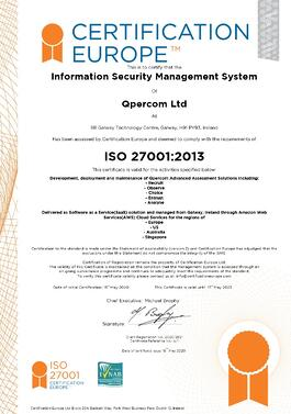 Qpercom ISO 27001 Certificate Image