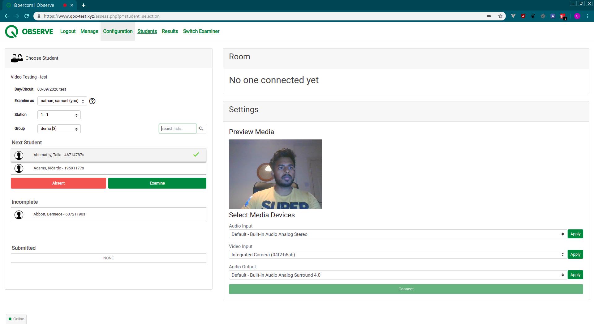 Screenshot from Qpercom Observe VI